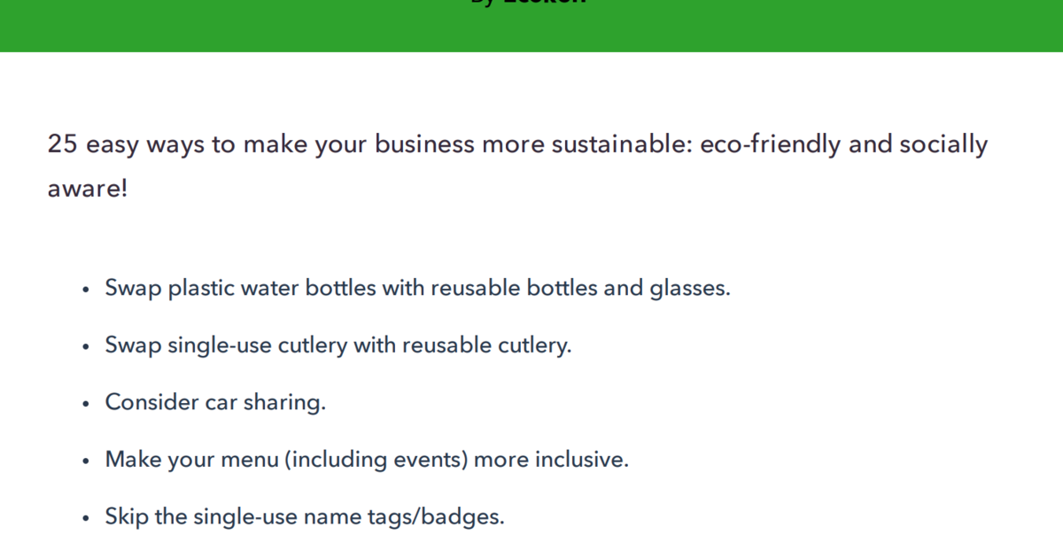 FREE Sustainable Business Checklist